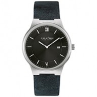 This Sleek And Modern Design Adds A Distinctive Edge. Stainless Steel Case With Black Dial. Black Genuine Leather Strap With Wire Buckle Closure.