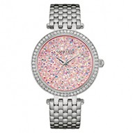 Hey Gorgeous ItS Your Time To Shine! 60 Individually Hand-Set Crystals. Stainless Steel Case And Bracelet. Pink Rock Crystal Dial. Fold-Over Buckle Closure.