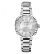 Beautiful From Every Angle This Mid-Sized Watch Has Perfect Proportions. Stainless Steel Case And Bracelet With 60 Individually Hand-Set Crystals On Bezel. Silver-White Dial With Crystal Markers. Fold-Over Buckle Closure.