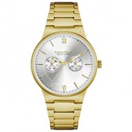 This Sleek And Modern Design Adds A Distinctive Edge. Gold-Tone Stainless Steel Case And Bracelet. Silver-White Dial With Gold Accents And Multifunction Feature. Fold-Over Buckle Closure.