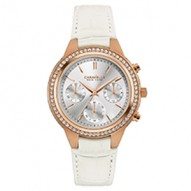 Our Newest Boyfriend Will Add A Sparkle To Your Eyes. 64 Individually Hand-Set Crystals . Rose Gold-Tone Stainless Steel Case. White Croco-Embossed Leather Strap. Silver-White Dial. Chronograph Function. Wire Buckle Closure.