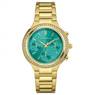 Our Newest Boyfriend Will Add A Sparkle To Your Eyes. 64 Individually Hand-Set Crystals . Gold-Tone Stainless Steel Case And Bracelet. Teal Dial. Chronograph Function. Fold-Over Buckle Closure.