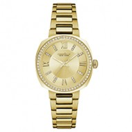 Beautiful From Every Angle This Mid-Sized Watch Has Perfect Proportions. Gold-Tone Stainless Steel Case And Bracelet With 60 Individually Hand-Set Crystals On Bezel. Champagne Dial With Crystal Markers. Fold-Over Buckle Closures.