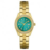 A Pop Of Color To Brighten Any Look! 48 Individually Hand-Set Crystals . Gold-Tone Stainless Steel Case And Bracelet. Teal Dial With Crystal Accents. Fold-Over Buckle Closure.