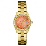 A Pop Of Color To Brighten Any Look! 48 Individually Hand-Set Crystals . Gold-Tone Stainless Steel Case And Bracelet. Melon Dial With Crystal Accents. Fold-Over Buckle Closure.