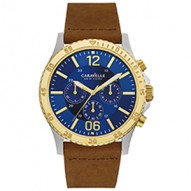 Stand Out From The Crowd With This Bold Sporty Style. Stainless Steel And Gold-Tone Case. Brown Leather Strap. Blue Dial. Chronograph Function. Wire Buckle Closure.
