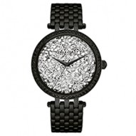 Add Some Sparkle To Your Style! 60 Individually Hand-Set Crystals On Bezel With Silver-Colored Rock Crystal Dial. Black Ip Stainless Steel Case And Bracelet With Fold-Over Buckle Closure.
