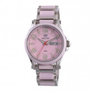 CRYSTAL Stainless Dial Pink Stainless Bracelet w/ Pink Ceramic