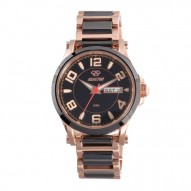 CRYSTAL Rose Gold plated Stainless Dial Black Rose Gold plated Stainless Bracelet w/ Black Ceramic