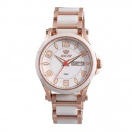 CRYSTAL Rose Gold plated Stainless Dial White Rose Gold plated Stainless Bracelet w/ White Ceramic