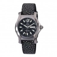 CURIE Stainless Dial Black Stone Black stingray strap