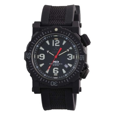 TITAN NitromidB. polymer with Stainless Steel core Dial Black Black co-molded rubber and nylon strap