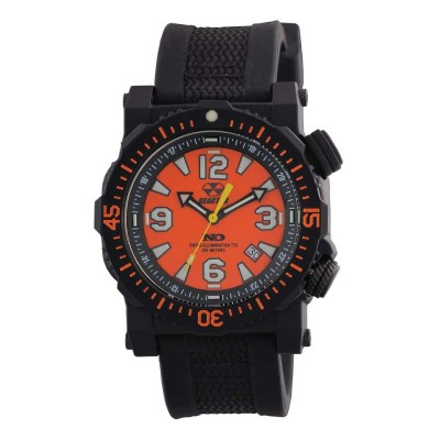 TITAN NitromidB. polymer with Stainless Steel core Dial Orange Black co-molded rubber and nylon strap