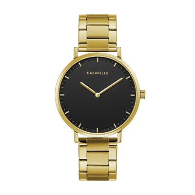 44A112 Dress Black Dial Yellow Gold Steel Watch