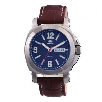 FERMI Stainless Dial Matte Navy Burgundy Leather Strap