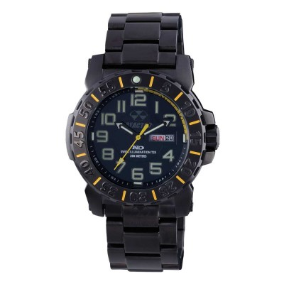 TRIDENT 2 Stainless Dial Black & Yellow Black-plated Stainless Bracelet