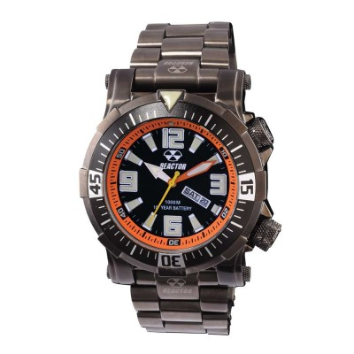 POSEIDON Gunmetal-plated Stainless Dial Black & Orange Gunmetal-plated Stainless Bracelet