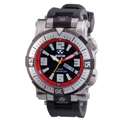 POSEIDON Stainless Dial Black & Red Rubber Strap