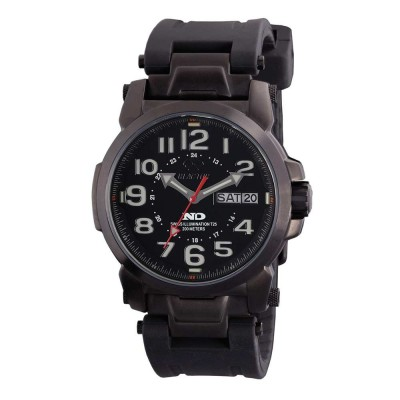 ATOM Never Dark® Black-plated Stainless Dial Black Rubber Strap