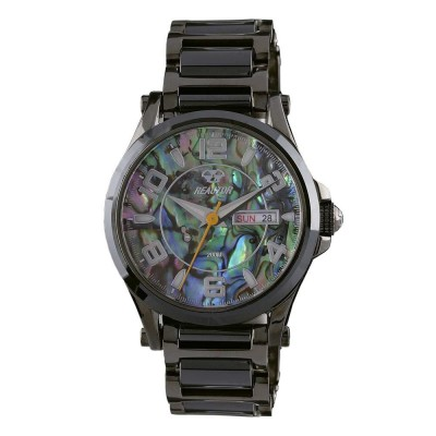 CRYSTAL Gunmetal-plated Stainless Dial Genuine Abalone Gunmetal plated Stainless Bracelet w/ Black Ceramic