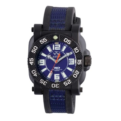 GRYPHON NitromidB. polymer with Stainless Steel core Dial Blue Black & Blue co-molded rubber and nylon strap