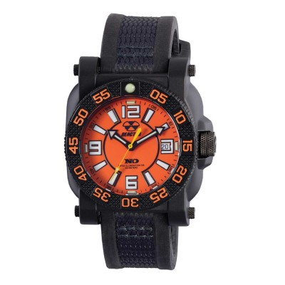 GRYPHON NitromidB. polymer with Stainless Steel core Dial Orange Black co-molded rubber and nylon strap
