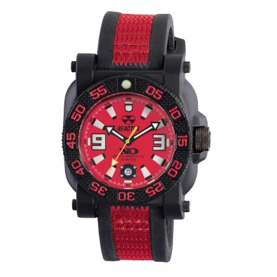 GRYPHON NitromidB. polymer with Stainless Steel core Dial Red Black & Red co-molded rubber and nylon strap