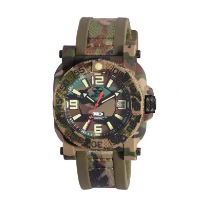GRYPHON NitromidB. polymer with Stainless Steel core Dial Jungle Camo Jungle Camo co-molded rubber and nylon strap