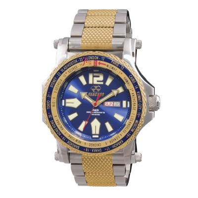 PROTON World Time Never Dark® Stainless with gold-plating Dial Navy 2-tone gold bracelet