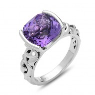 Sterling Silver Ring With 2 Rubies Bezel Set 1 10X10Mm  Cushion Amethyst