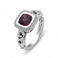 Sterling Silver Ring With .12Ct Diamonds Si3-I1 Kl 1 7X7Mm Cushion Garnet