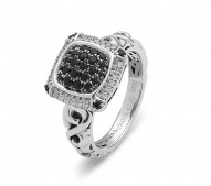Sterling Silver Pave Ring With .12Ctw K-L Si3-I1 28 Blk Saph