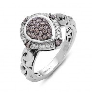 Sterling Silver Pear Pave Ring .13Ctw K-L Si3-I1 .40Ctw Brown Diamonds