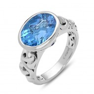 Sterling Silver Ring With 2 Blue Saph Bezel Set 1 12X10Mm Oval Swisterling Silver Blue Topaz