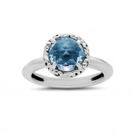 Sterling Silver Ring With 1 Rd 8Mm Sky Blue Topaz