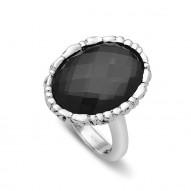 Silver Ring W/1 18X13Mm Oval Hematite W A Wht Topaz Top