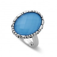 Sterling Silver Ring With 1 18X13Mm Oval Turquoise And Wht Quartz Top