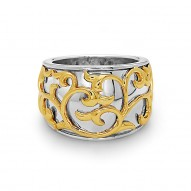 Sterling Silver  & 18Kg Ivy Lace Band Ring