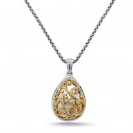 Sterling Silver & 18Ky Pear Ivy Lace Pendant