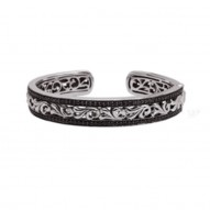 Sterling Silver 14Kw Bangle With 1.97Ct Blk Sapphires