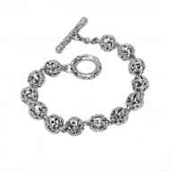 Sterling Silver Small Beaded Bracelet Toggle