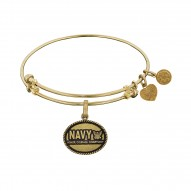 "Brass with Yellow Finish U.S Navy ""Honor Courage Commitment"" Angelica Bangle"