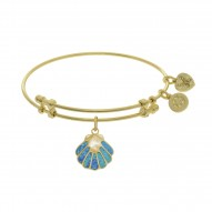 Brass with Yellow Finish Charm with Created Opal On Yellow Angelica Bangle