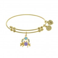 Brass with Yellow Created Opal Crab Charm On Yellow Angelica Bangle with Amy