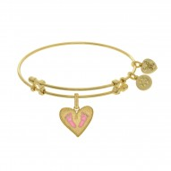 Brass with Yellow Finish Pink Enamel Baby Foot Print Charm for Angelica Bangle