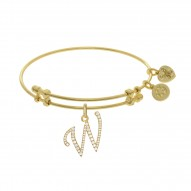 Brass with Yellow Finish  Initial W  Charm for Angelica Bangle