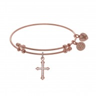 Brass with Pink Finish Cross Charm On Pink Angelica Bangle