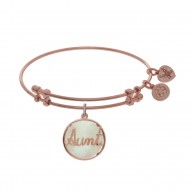Brass with Round Aunt with Created Mop On Pink Angelica Bangle
