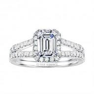 Emerald Cut Split Shank Halo Diamond Engagement Ring