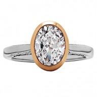 Oval Cut Diamond Bezel/Vintage Style Engagement Ring